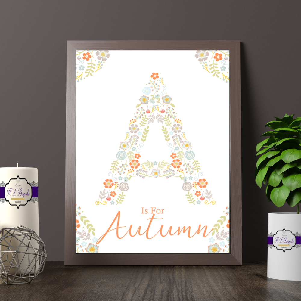 Personalised Coral Floral Letter Print For Baby Girl Nursery - Is For Monog
