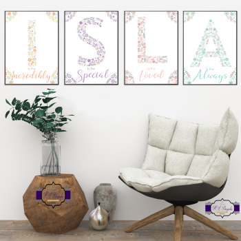 Personalised Full Name Floral Letter Print For Baby Girl Nursery - Is For Monogram Print Set - Letter Decor New Baby Room - Baby Shower Gift