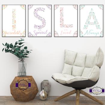 Personalised Full Name Floral Letter Print For Baby Girl Nursery - Is For Monogram Print Set - Letter Decor New Baby Room - Baby Shower Gift