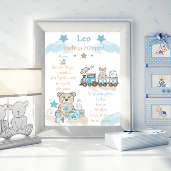 Personalised New Baby Details Print - Gift For New Baby Boy - New Baby Boy Decor - Train Decor For Baby Nursery - Teddy Bear Baby Nursery