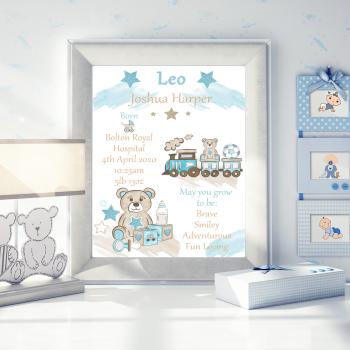 Personalised New Baby Details Print - Gift For New Baby Boy - New Baby Boy Decor - Train Decor For Baby Nursery - Teddy Bear Baby Nursery