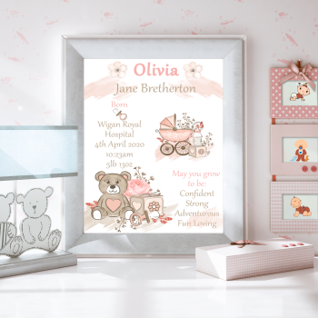 Personalised New Baby Details Print - Gift For New Baby Girl - New Baby Girl Decor - Teddy Decor For Baby Nursery - New Baby Wishes Gift