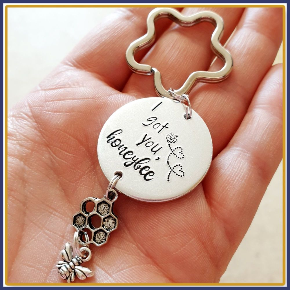Personalised Bee Keyring - You're As Sweet As A Honey Bee - Be Happy Gift -