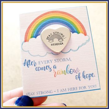 Personalised Stay Strong Mental Health Token Gift - After Every Storm Comes A Rainbow Gift - Gift For Struggling Friend - Semi Colon Gift