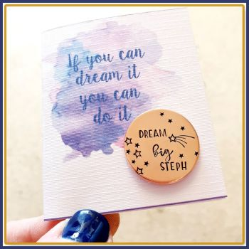 Personalised Dream Big Pocket Token Gift - If You Can Dream It Do It Gift - Pocket Token Inspirational Gift - Deam Big Gift For Daughter Gif