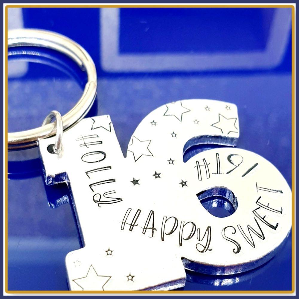 Personalised 16th Birthday Gift Keyring - Special Age Birthday Keyring - 16