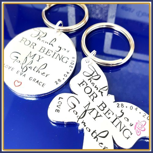 Personalised Godmother AND Godfather Gift - Godmother & Godfather Keyring -