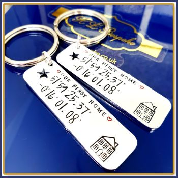 Personalised First Home Keyrings - Our First Home Gift - First Home Gift - Coordinates Keyring - New Home Gift - Couples First Home Keychain