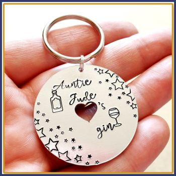 Personalised Gift For Gin Lover - I Love Gin Keyring - Gin Keyring UK - Keychain About Gin - Birthday Gift For Ginaholic - Gin And Tonic Gif