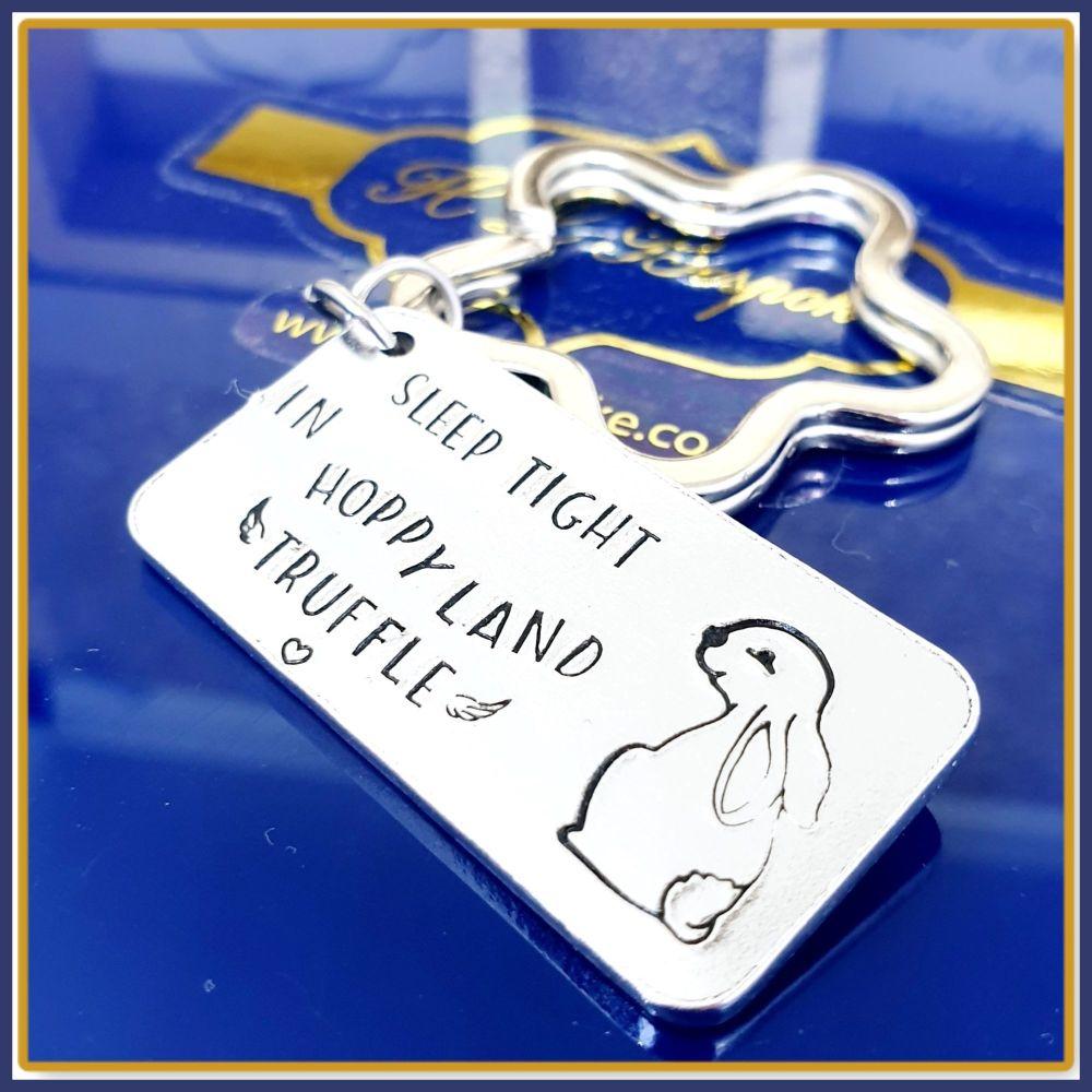 Pet Loss Bunny Rabbit Memorial Keychain - Rabbit Loss Gift - Sleep Tight Ra