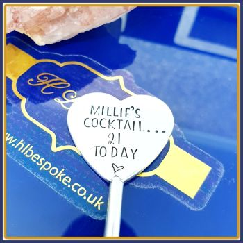 Personalised 21st Birthday Drinks Stirrer - 21st Gin Gift for Her - Cocktail Gift for 21st Birthday - Cocktail Lover Gift - Cocktail Mixer