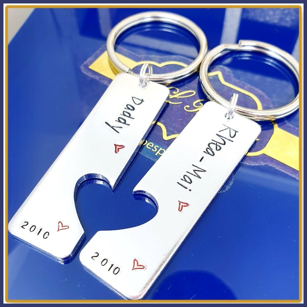 Personalised Father Son Keyrings - Father Daughter Gift - Sibling Keyring S