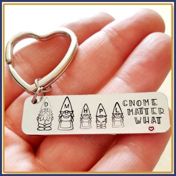 Personalised Gnome Family Keyring - Gnome Gift For Grandma Nanny - Gnome Matter What Keychain - Gift For Gnome Lover - Cute Gnome Keyring