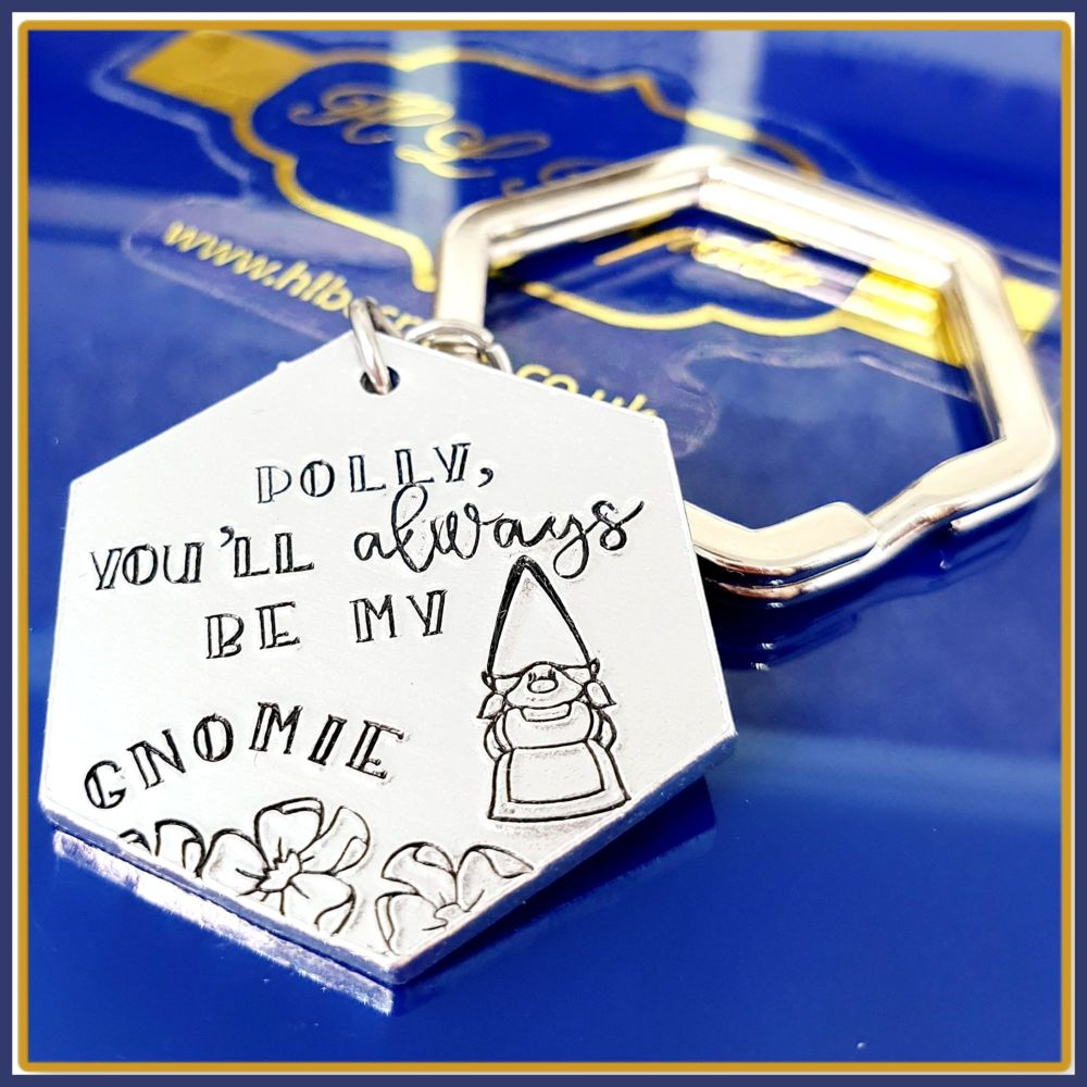 Personalised Gnome Gift For Friend - Always Be My Gnomie Keyring Gift - Fun