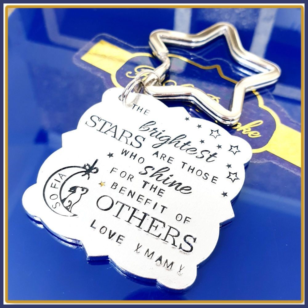 Personalised Teacher Keyring Gift - The Brightest Stars Are Those Who Shine