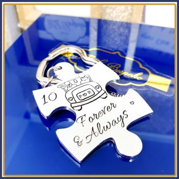 Personalised Wedding Anniversary Keyring Gift- Always & Forever Puzzle 10th Wedding Anniversary Keyring - 10th Anniversary Gift For Him Her