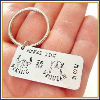 Personalised Viking His & Hers Gift - Gift For Viking - You're My Viking Keyring - Viking to my Viqueen Gift - Birthday Viking Gift For Him