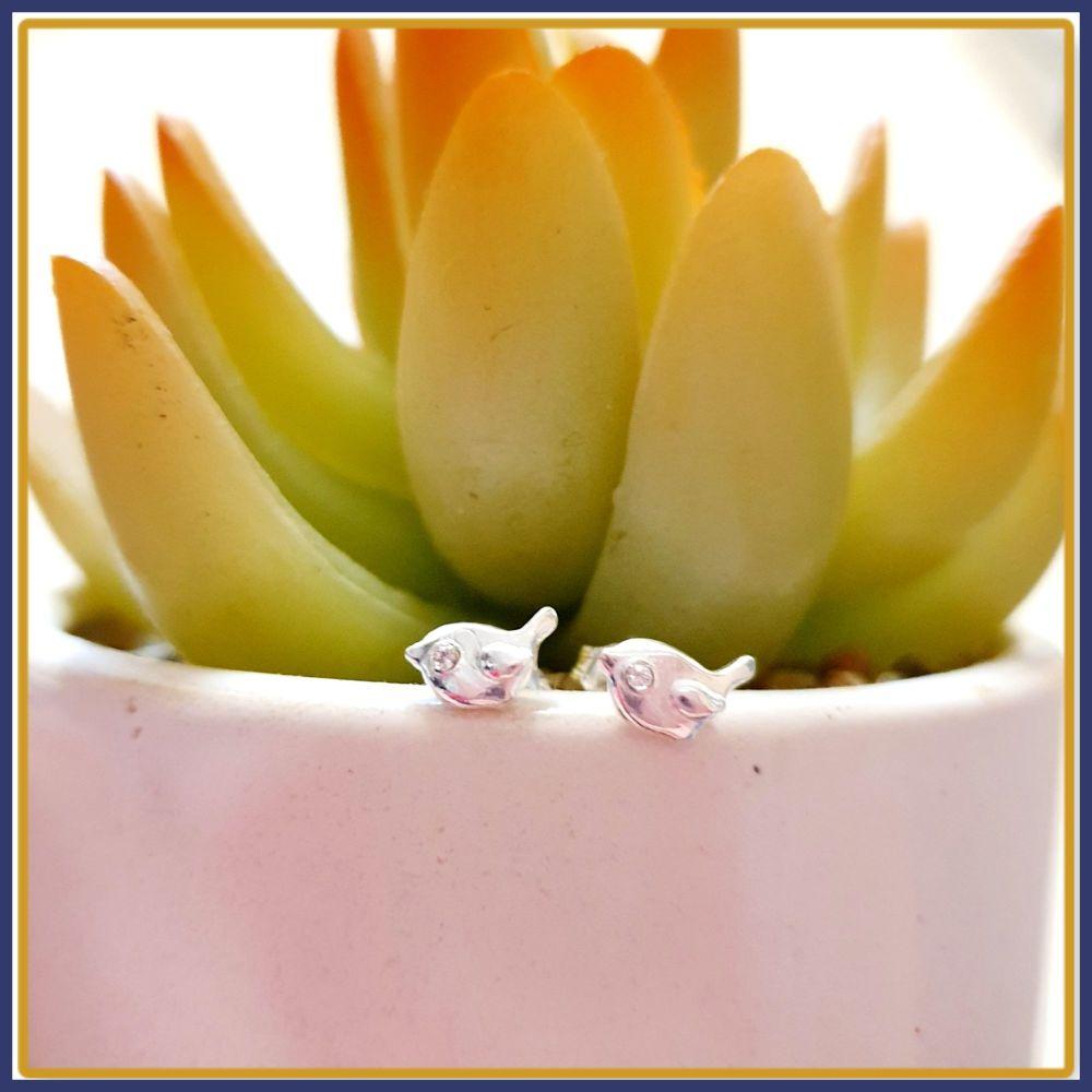 Dainty Silver Bird Earrings with Swarovski Crystal - Cute Argentium Silver