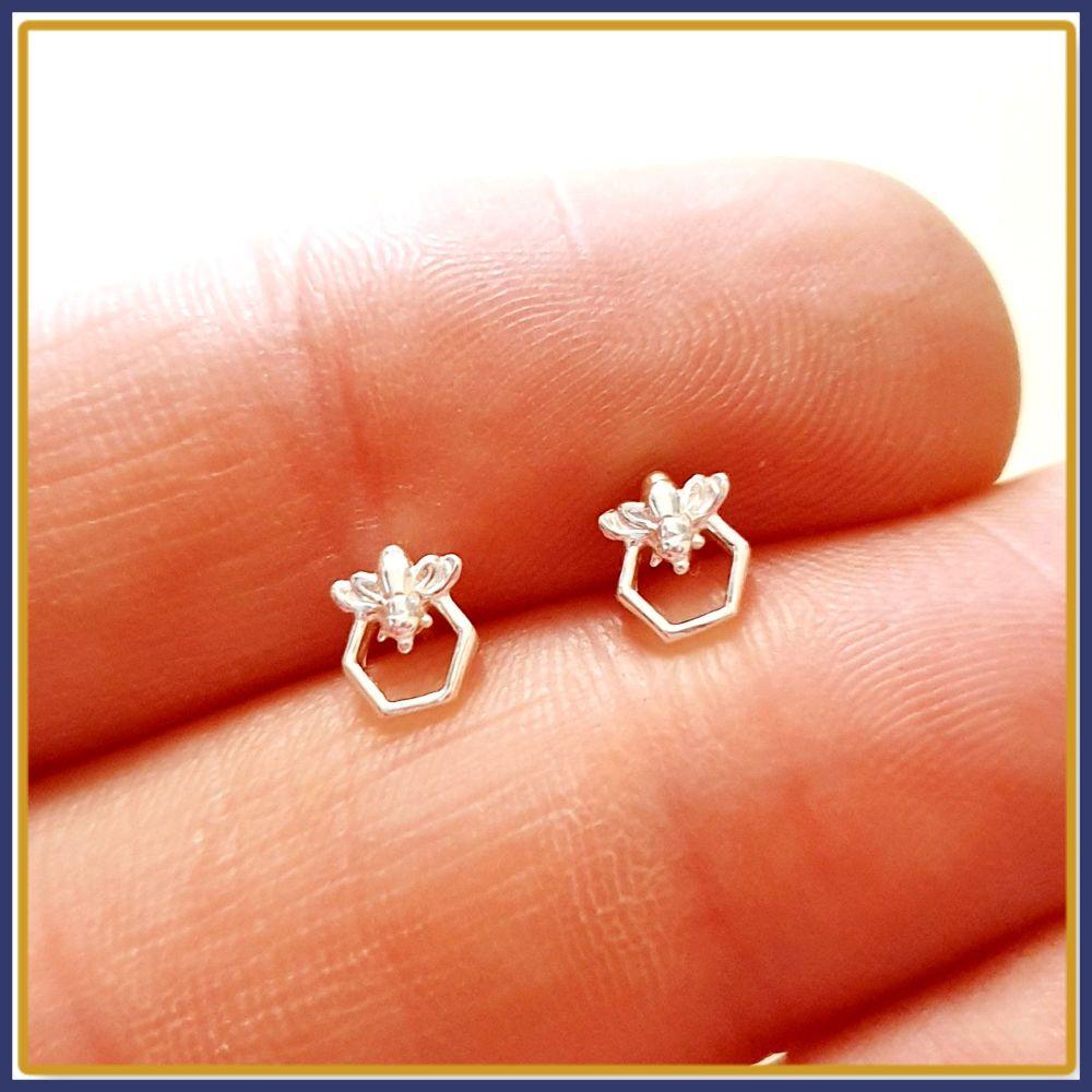 Dainty Silver Bee Stud Earrings on Honeycomb - Honeybee Earrings - Gift For