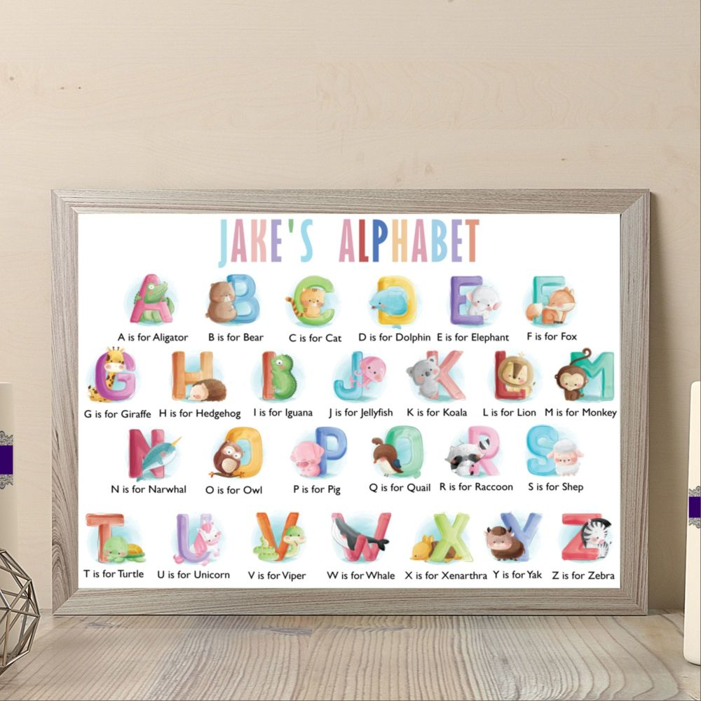 Personalised Baby Boy Animal Alphabet Print - Alphabet Are For Nursery - Ap