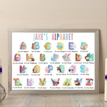 Personalised Baby Boy Animal Alphabet Print - Alphabet Art For Nursery - Aphabet Wall Decor For Baby Bedroom - Nurswery Alphabet Print Gift