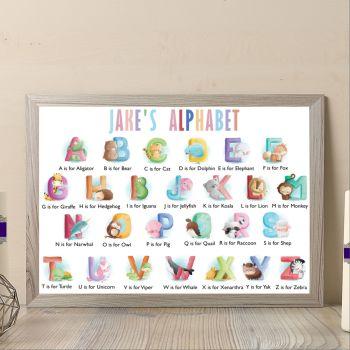 Personalised Baby Boy Animal Alphabet Print - Alphabet Art For Nursery - Aphabet Wall Decor For Baby Bedroom - Nurswery Alphabet Print Gift
