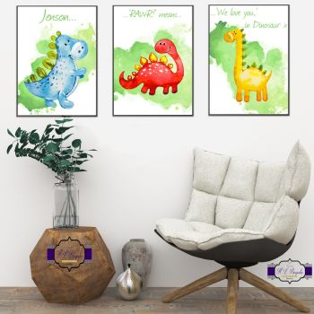 Adorable Dinosaur Bedroom Decor - Rawr Means We Love You In Dinosaur - Cute Watercolour Dinosaur Decor For Nursery - Boy Dinosaur Art Room