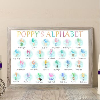Personalised Baby Girl Animal Alphabet Print - Alphabet Art For Nursery - Aphabet Wall Decor For Baby Bedroom - Nurswery Alphabet Print Gift