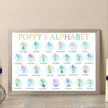 Personalised Baby Girl Animal Alphabet Print - Alphabet Art For Nursery - Aphabet Wall Decor For Baby Bedroom - Nurswery Alphabet Print Gift