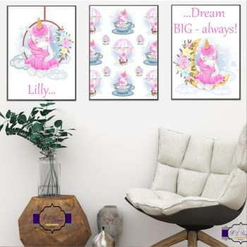 Personalised Adorable Unicorn Bedroom Decor - Dream Big Child Bedroom Wall Prints - Unicorn Decor For Little Girl - Be Who You Want To Be