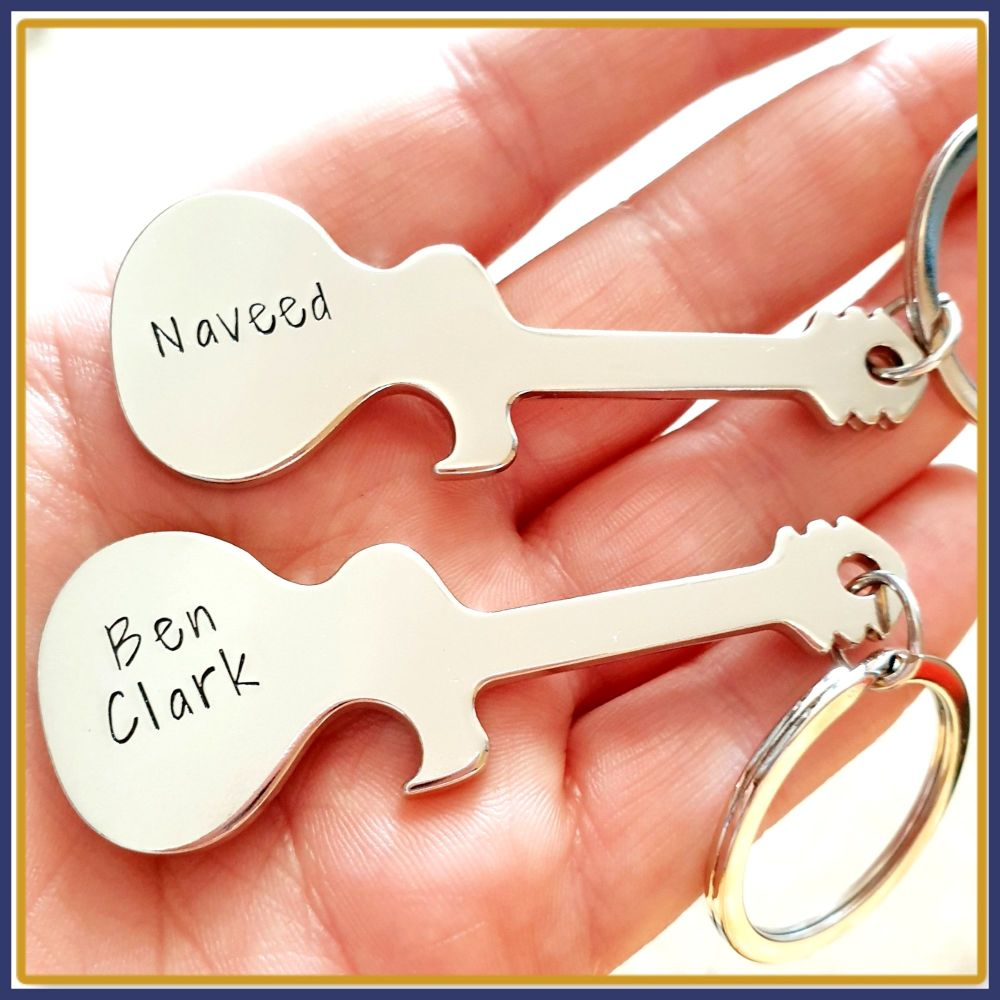 Personalised Guitar Bottle Opener - Guitar Player Gift - Bottle Opener With