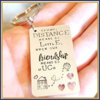 Friendship Gift - Friendship Keyring - Distance Means So Little Keyring - Friend Gift - Missing You Gift - Distance Keyring - Traveller - Distant Frie