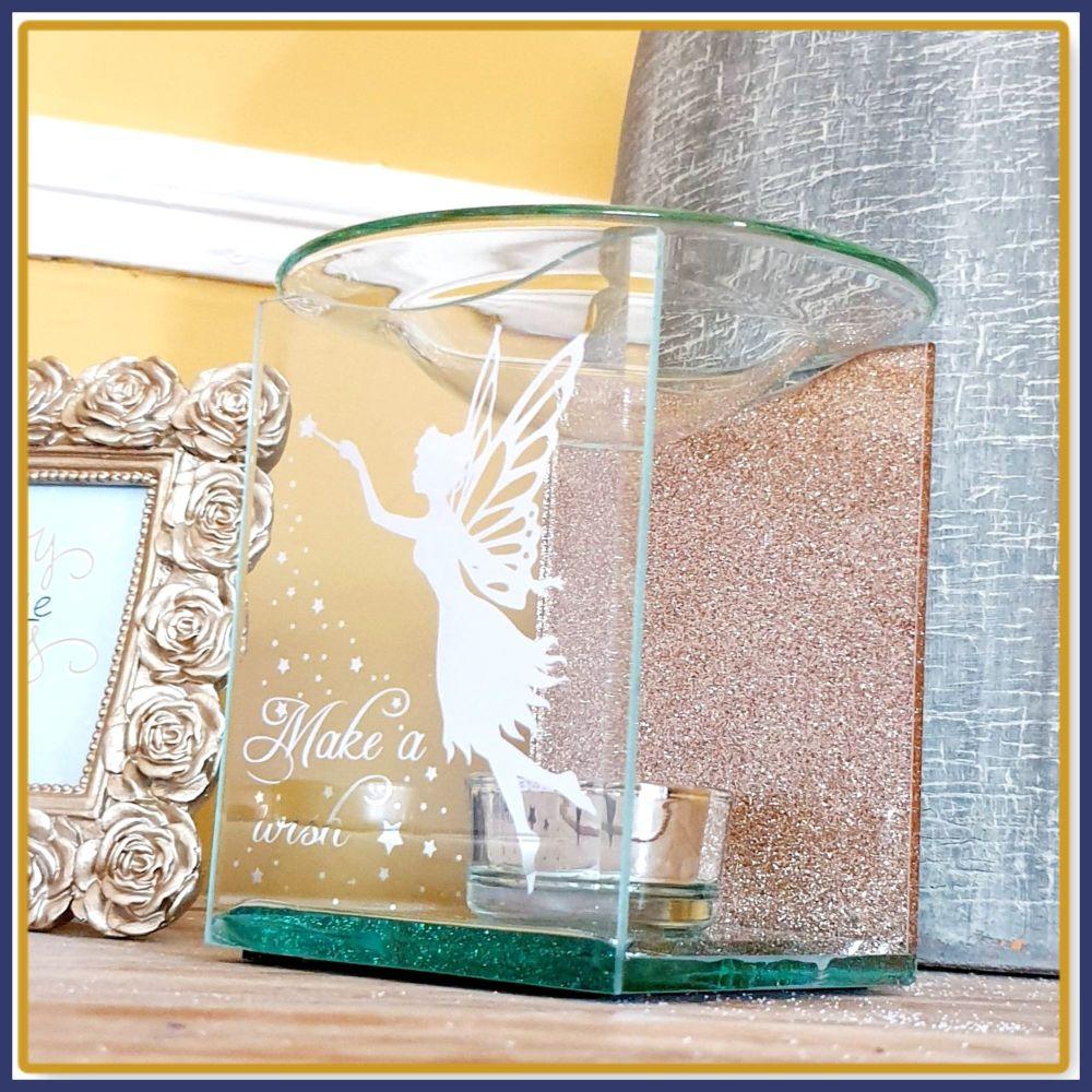 Sparkly Rose Gold Wax Melt Burner With Wax Melt Samples - Glittery Fairy Wa