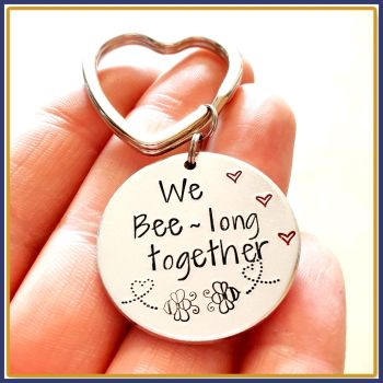 Valentine's Bee Gift - We Beelong Together - Bee Keychain - Bee Keyring - Valentine's Keyring - Bumble Bee Gift - Couple Gifts - Anniversary