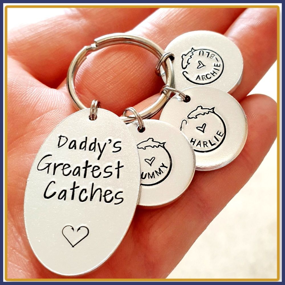 Personalised Daddy's Best Catch Keyring - Fishing Keyring - Father's Day Ke