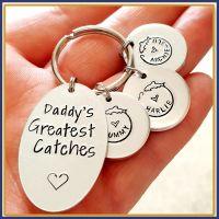 Personalised Daddy's Best Catch Keyring - Fishing Keyring - Father's Day Keyring - Fishing Daddy Keyring - Grandad Keyring - Fisherman - Dad