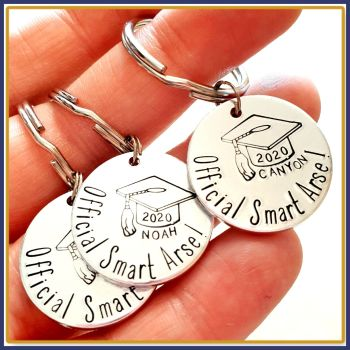 Personalised Graduate Gift - Graduation Keychain - Smart Arse Keyring - Simple Graduate - Well Done Graduate - Graducation Gift - Degree