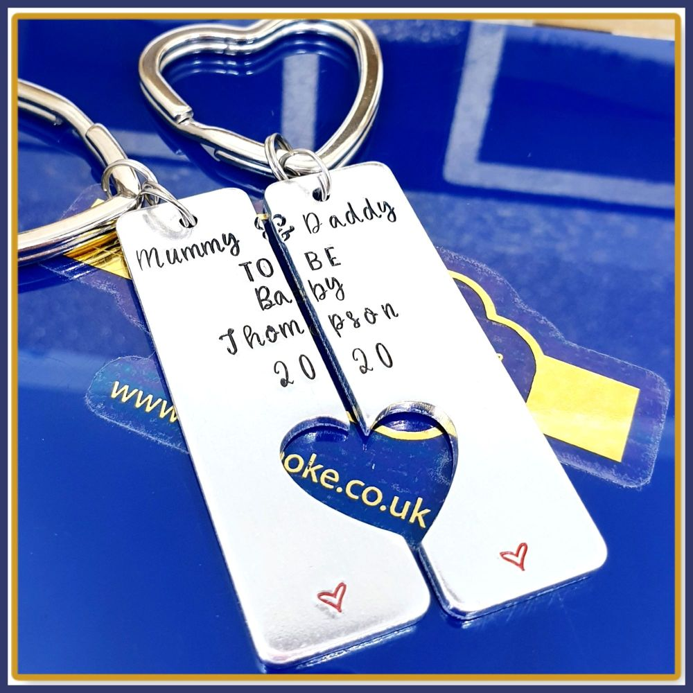 Personalised New Parent Gift - Pair Mummy & Daddy Keyrings - Keyrings For N