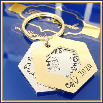 Personalised Funny New Home Gift - New Home Keyring For Her - Badass Homeowner Gift - First Home Keyring - Single Congrats New Home  Owner