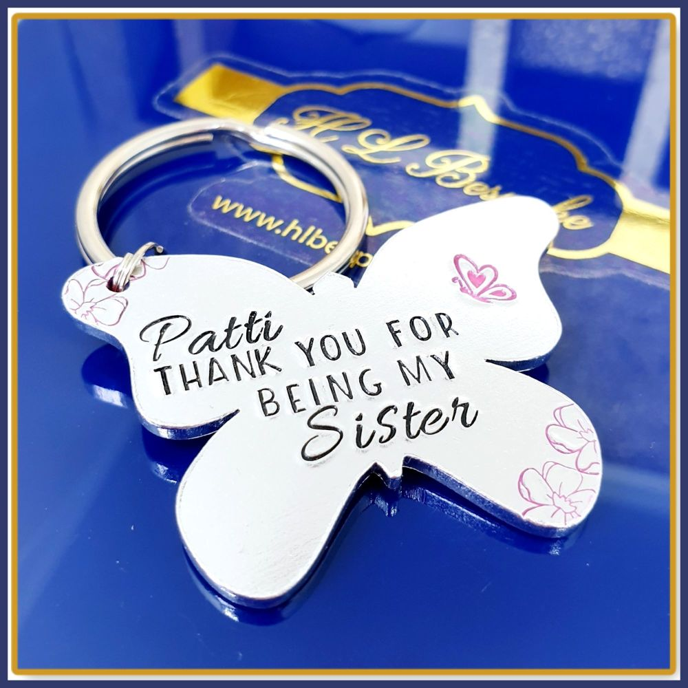 Personalised Special Sister Keyring Gift  - Thank You Sister Gift - Thank Y