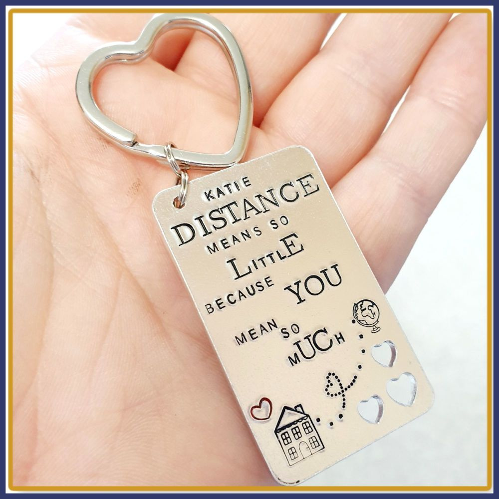 Personalised Distance Means So Little Keyring - Missing You Gift - Distance