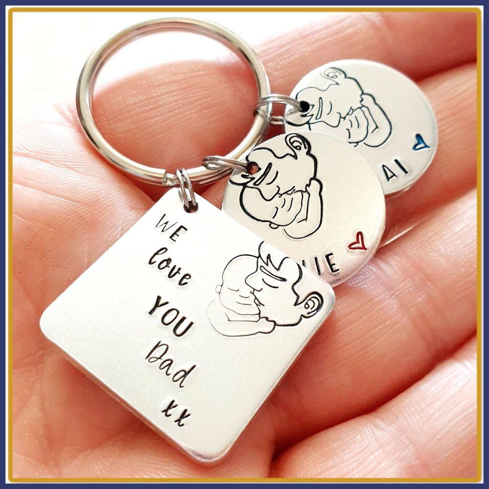 Personalised Daddy Keyring - Daddy Belongs To Keyring - We Love You Daddy G