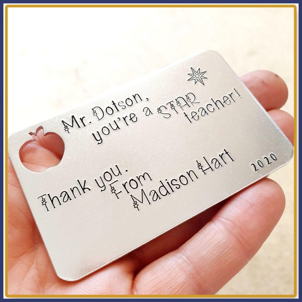 Personalised Male Teacher Gift - Apple Teacher Gift - Star Teacher Wallet I