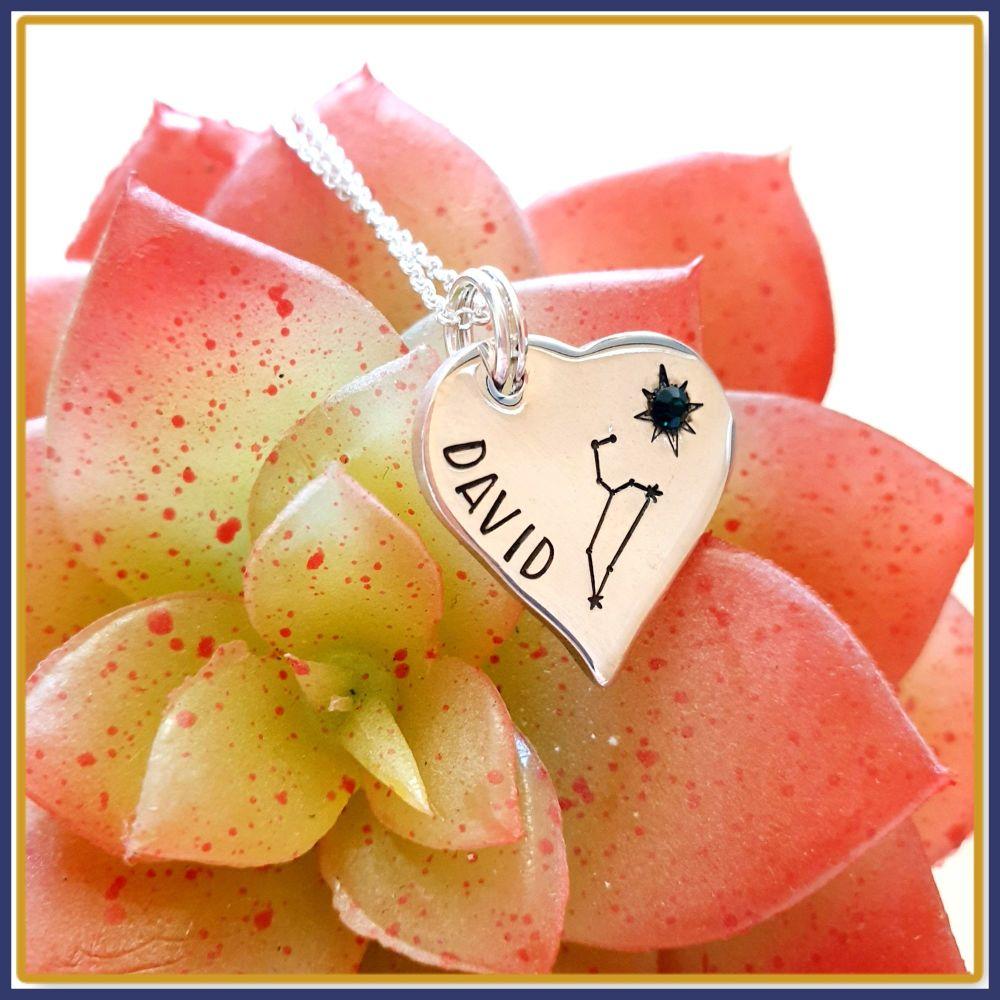 Personalised Constellation Heart Pendant Necklace - Constellation Birthston