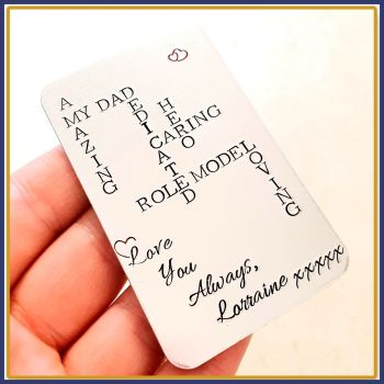 Father's Day Wallet Insert - Personalised Wallet Insert - Scrabble Gift - Acrostic Poem Crossword Gift - Sentimental Love You Gift For Dad
