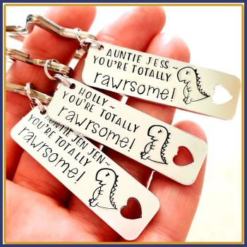 Personalised Rawr Dinosaur Keyring - Totally Rawrsome Keyring - Totally Awesome Keyring - Rawr Dinosaur Keyring For Son - Dinosaur Lover Gif