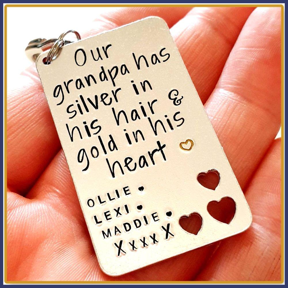 Personalised Grandad Gift - Grandad Keyring - Silver In His Hair Gold In Hi