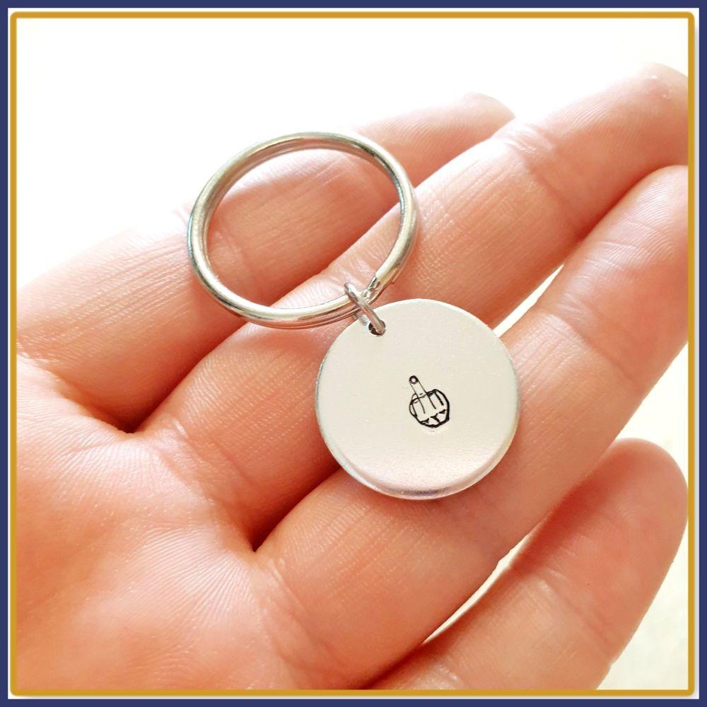 Profanity Middle Finger Keyring - Sweary Up Yours Keychain - Adult Humour I