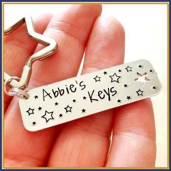 Personalised Name Keyring - First Key Gift - New Driver Keyring - New Driver Gift - Name Keyfob - Just Passed Keyring - First Car Keyring