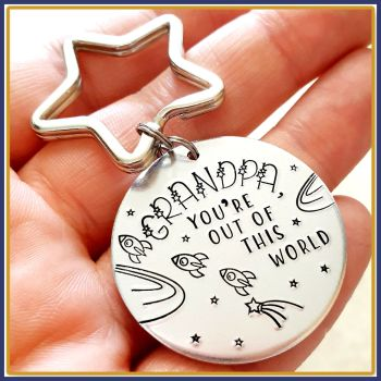 You're Out Of This World Grandad Keyring - Personalised Space Keyring For Father's Day - Geeky Space Gift For Dad - Gift For Him